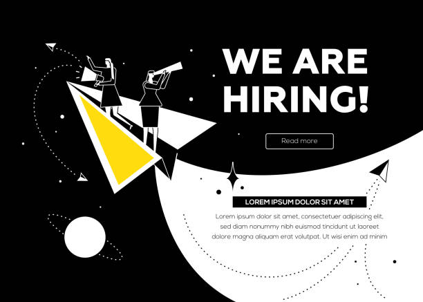 We are hiring - flat design style colorful illustration We are hiring - flat design style colorful illustration with copy space for text. Female specialists searching for candidate, flying on paper plane, looking through spyglass, speaking with megaphone vacancy stock illustrations