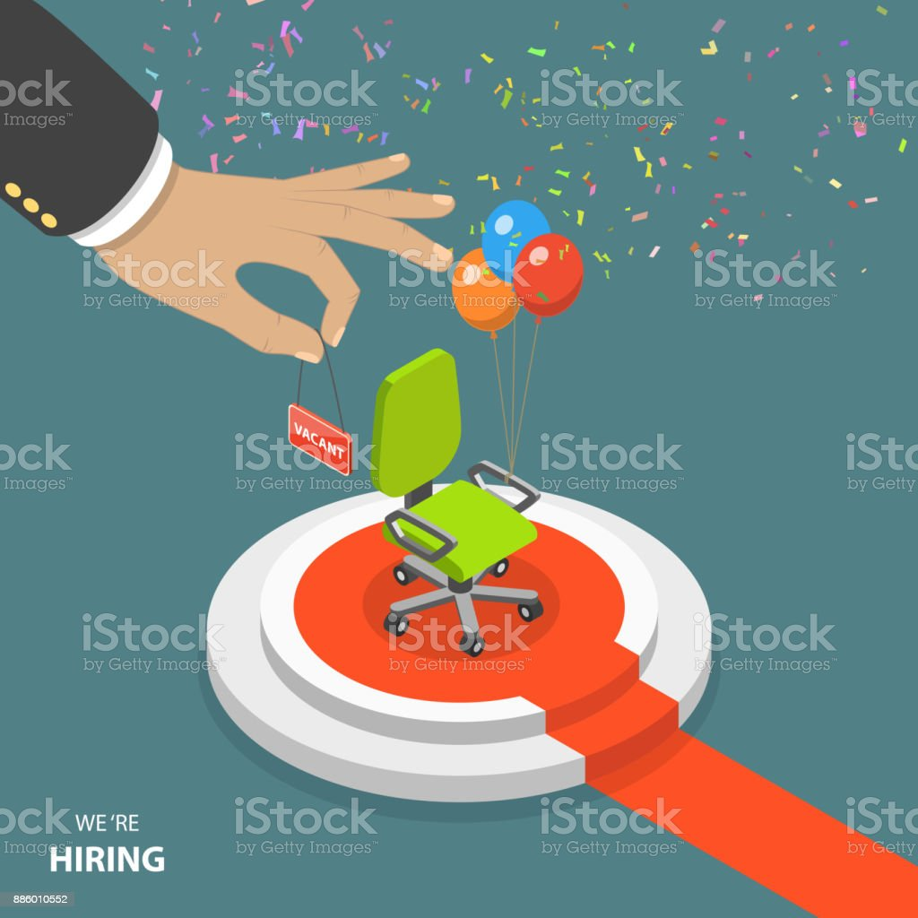 We are hiring flat isometric vector concept vector art illustration