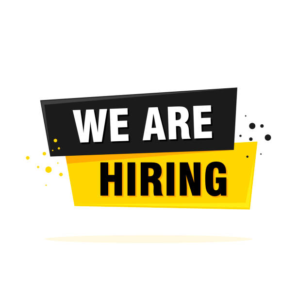 We are hiring label sign. Black and yellow origami style sticker. Vector illustration We are hiring label sign. Black and yellow origami style sticker. Vector illustration. vacancy stock illustrations
