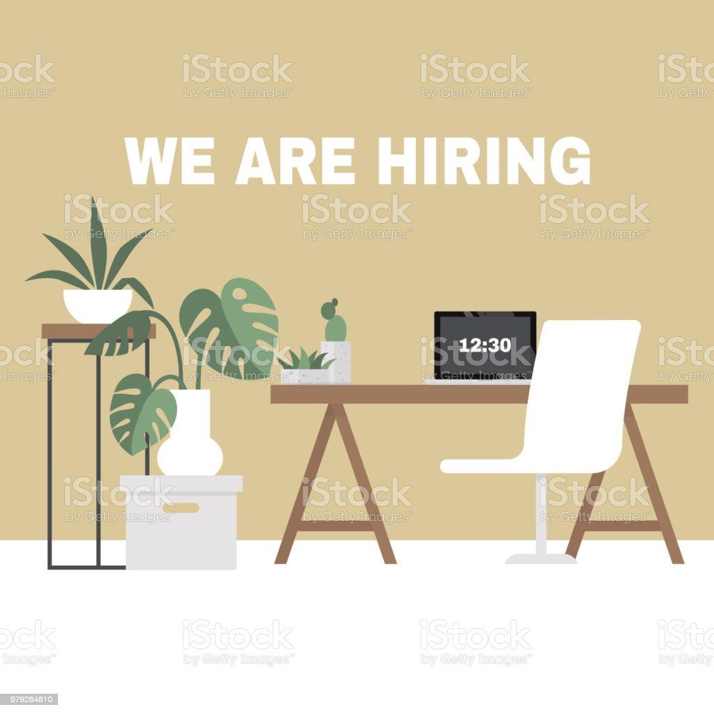 Estamos contratando. En busca de un empleado. H. los recursos humanos. Interior de oficina. Ilustración de vector completamente editable, Prediseñadas - ilustración de arte vectorial