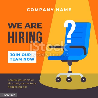 We are hiring poster background. Office chair with spot light illustration and question mark. Business recruiting concept vector template flat design.