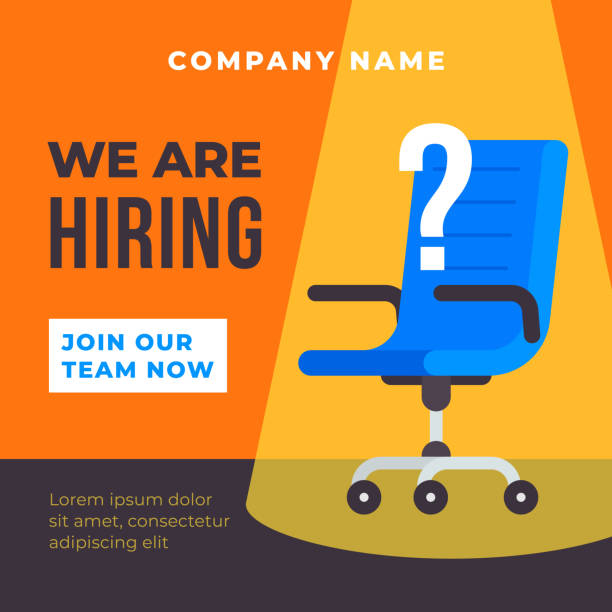We are hiring poster background. Office chair with spot light illustration and question mark. Business recruiting concept vector template flat design. We are hiring poster background. Office chair with spot light illustration and question mark. Business recruiting concept vector template flat design. vacancy stock illustrations