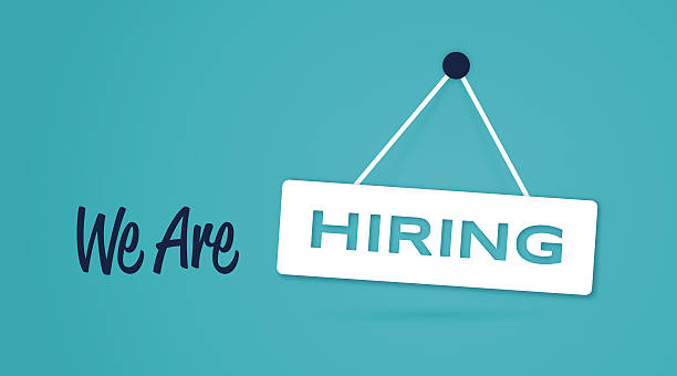 We Are Hiring Sign We are hiring hanging sign concept. EPS 10 file. Transparency effects used on highlight elements. help wanted sign stock illustrations