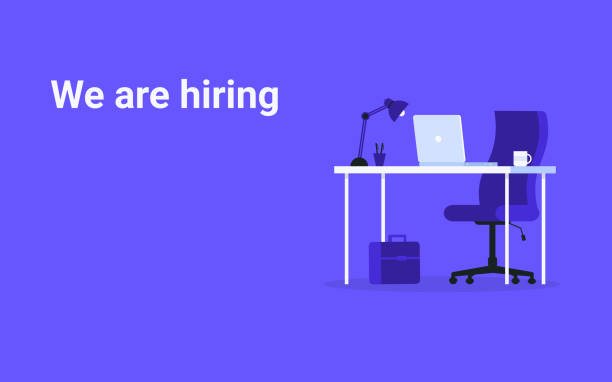 we are hiring table and laptop concept vector art illustration