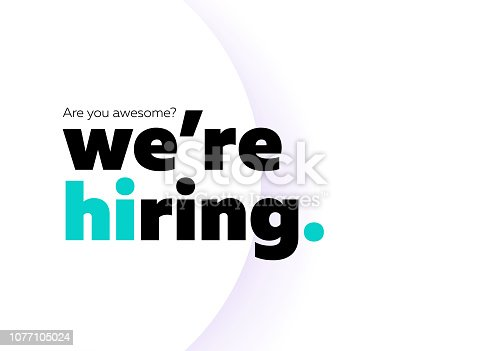 We are Hiring Vector Background. Trendy Bold Black Typography. Job Vacancy Card Design. Join Our Team Minimalist Poster Template, Looking for Talents Advertising, Open Recruitment Creative Ad.