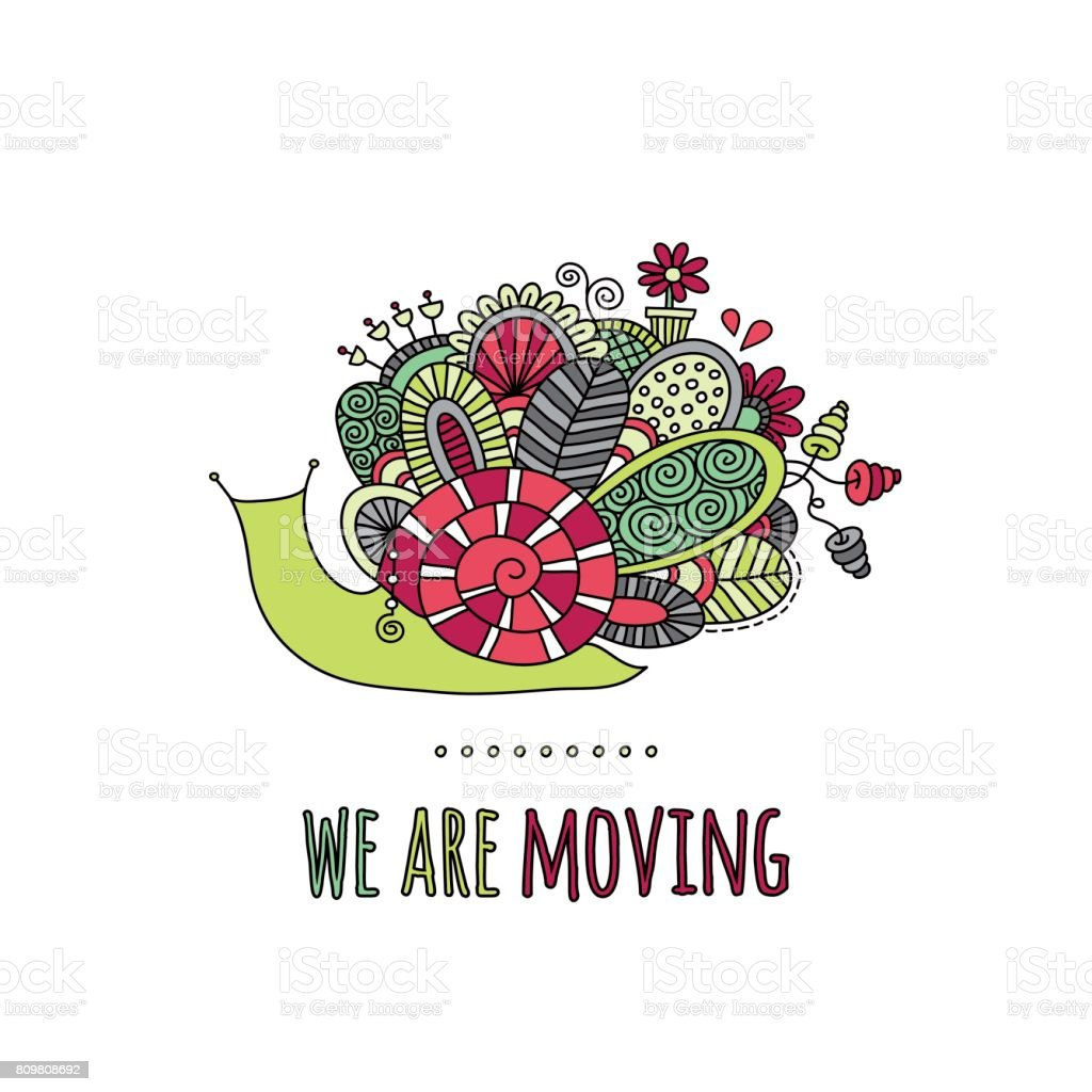 We Are Moving Snail Hand Drawn Doodle Vector vector art illustration