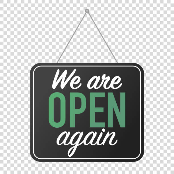 we are open again sign. grand reopening corona quarantine. business welcome back. we are open again sign. grand reopening corona quarantine. business welcome back.  door hanging open stock illustrations
