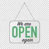 we are open again sign. grand reopening corona quarantine. business welcome back.  door hanging