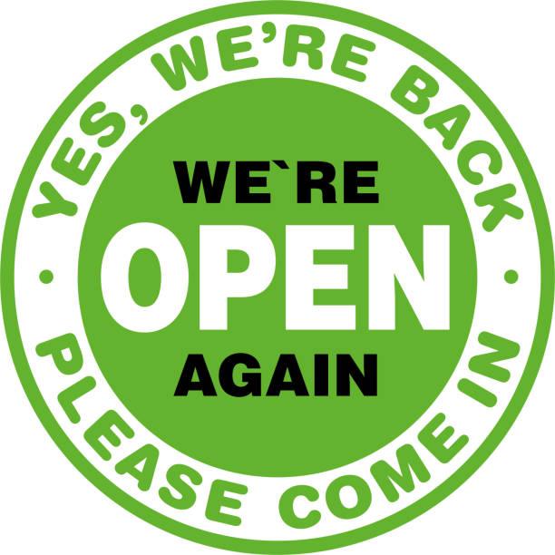 ilustrações de stock, clip art, desenhos animados e ícones de we are open again signage or entrance sticker. - covid restaurant