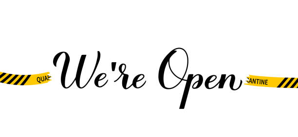 ilustrações de stock, clip art, desenhos animados e ícones de we are open calligraphy hand lettering isolated on white. reopening of shops, services, restaurants, barbershops, hair salons after quarantine.  welcome sign for customers. vector banner - covid hair