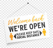 istock We are open sign label welcome back keep safe social distance on transparent background isolated 1227446804