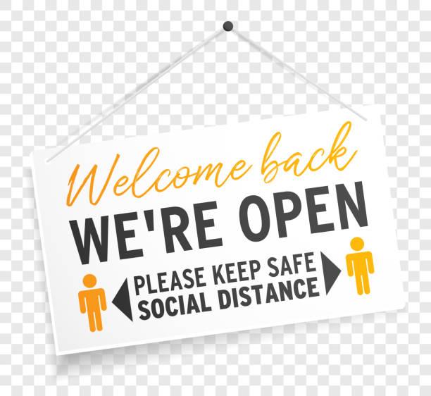 우리는 투명 한 배경 에 안전한 사회적 거리를 유지 다시 환영 오픈 기호 레이블 고립 - 등 stock illustrations
