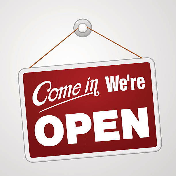 We are Open Sign Illustration of red sign with information welcoming shop visitors. EPS version 10 with transparency and AI CS5 included in download. open sign stock illustrations