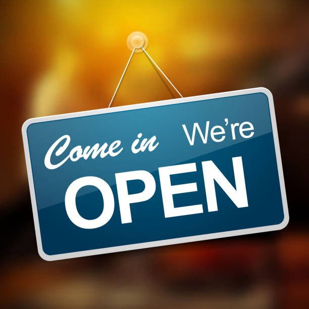 """We are open sign Door sign with """"Come in we're open"""" message open sign stock illustrations"""