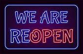 We Are ReOpen neon sign with blue and red luminous text, EPS10 vector illustration.