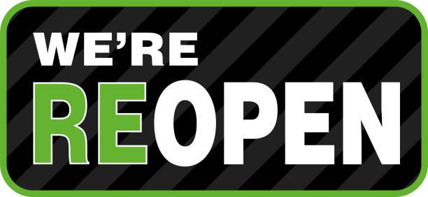 ilustrações de stock, clip art, desenhos animados e ícones de we are reopen signage or entrance sticker. - covid restaurant