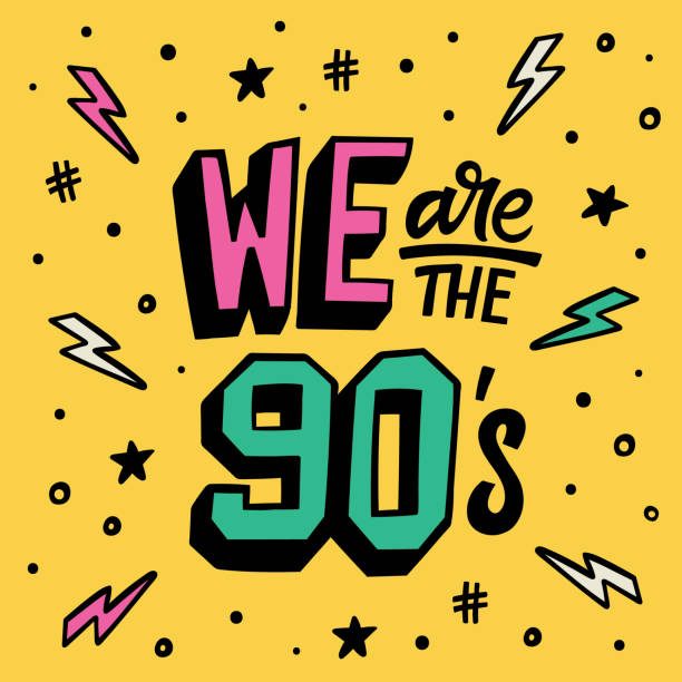 We are the 90's Lettering poster We are the 90's Lettering poster. Doodle sticker set youth culture stock illustrations