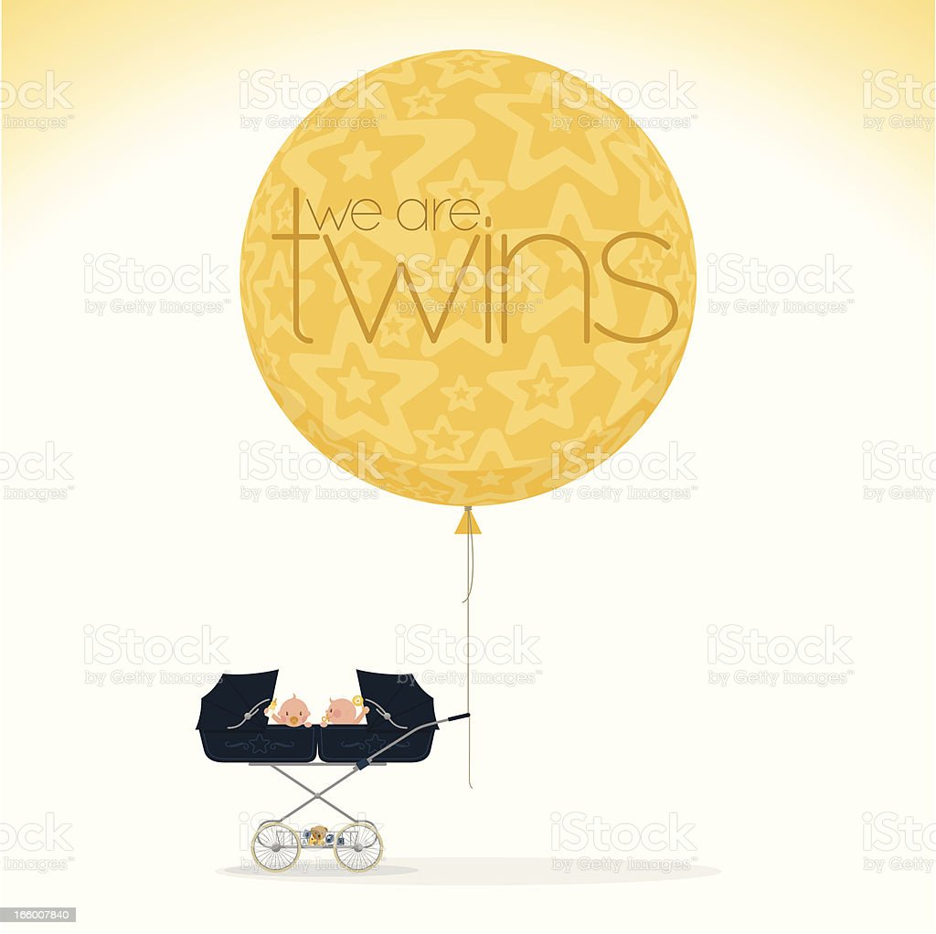we are twins vector art illustration