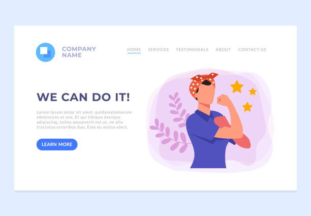 We can do it banner web page site concept. Vector flat graphic design cartoon illustration We can do it banner web page site concept. Vector flat graphic design cartoon women's suffrage stock illustrations