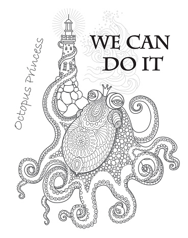 We Can Do It  concept wallpaper. Humorous Girls Power tee shirt print on a white  background. Octopus in princess crown cartoon character raising a lighthouse with tentacle.