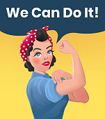 We Can Do It Poster Illustration. Vector Style Sexy Strong Brunette Girl. Classical American Symbol of Female Power, Solidarity, Human Rights, Protest, Feminism, Riot. Image in Retro Comic Style