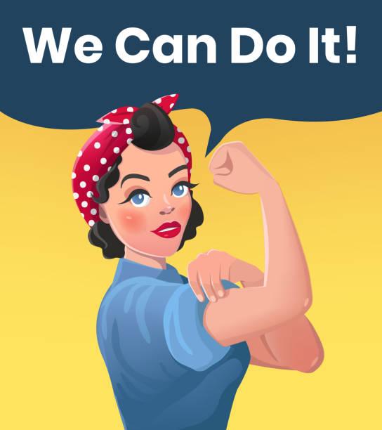 우리가 그것을 할 수 있는 포스터 일러스트 - 여성의 권리 stock illustrations
