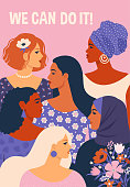 We can do it! Poster International Women's Day. Vector illustration with women different nationalities and cultures.