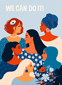 We can do it. Poster International Women's Day. Vector illustration with women different nationalities and cultures