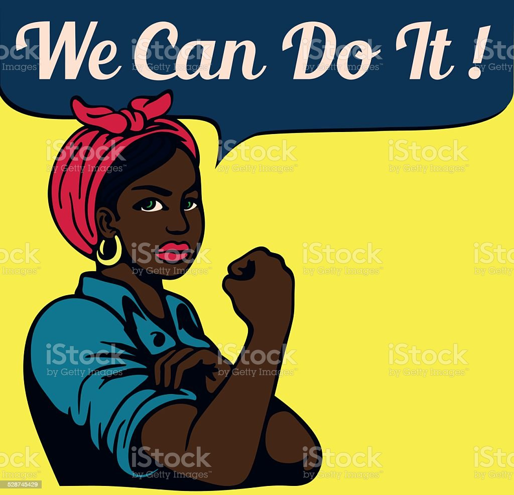 Podemos fazê-lo! Vintage Poster, preto trabalhando mulher - ilustração de arte em vetor