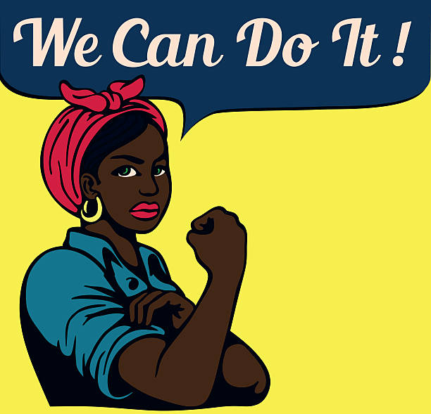we can do it! vintage poster, black working woman - 1940s style stock illustrations