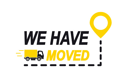 We have moved, changed address. Map location pointer. We've moved. Truck with location mark. Changed address navigation. Concept of locator land mark like ecommerce delivery or transfer label