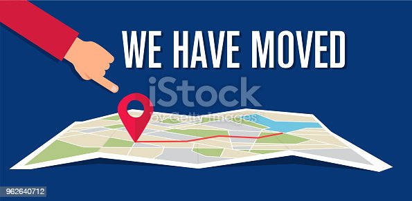We have moved, changed address navigation, flat illustration vector, changed address navigation