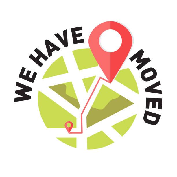 stockillustraties, clipart, cartoons en iconen met we zijn verhuisd, gewijzigde adres navigatie - verhuizen