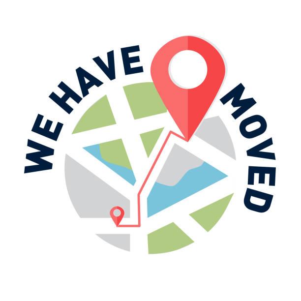 stockillustraties, clipart, cartoons en iconen met we zijn verhuisd, veranderd adres navigatie - verhuizen
