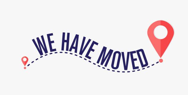 We have moved, changed address navigation We have moved, changed address navigation, We have moved, changed address navigation physical activity stock illustrations