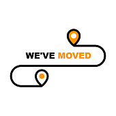 We have moved icon - resettlement, relocation and ecommerce delivery or transfer sign
