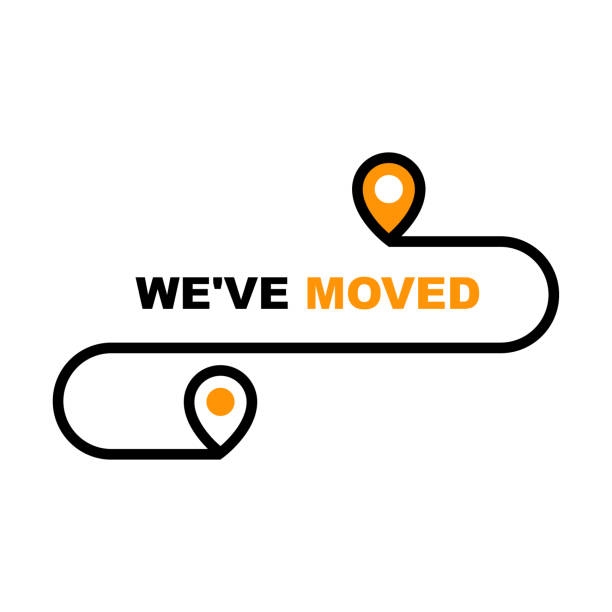 we have moved icon - resettlement, relocation and ecommerce delivery or transfer sign - przeprowadzka stock illustrations