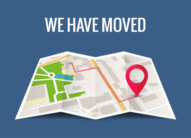 we have moved new office icon location. address move change location announcement business home map - przeprowadzka stock illustrations