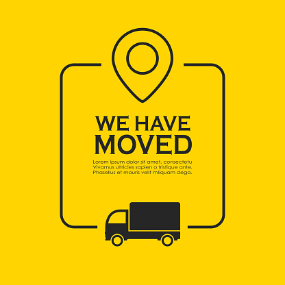 We have moved vector poster on yellow background. Mover service information text box.