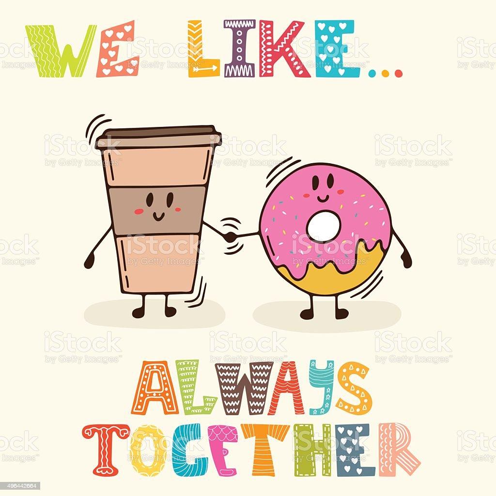 お勧めです常にしています可愛いキャラクターのコーヒーとドーナツ
