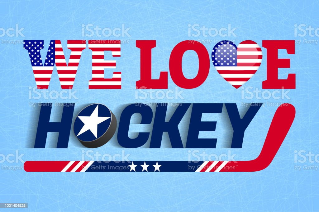 We Love Hockey Vector Poster Usa National Flag Heart Symbol In A