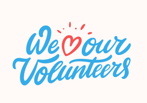 ilustrações de stock, clip art, desenhos animados e ícones de we love our volunteers. vector lettering. - voluntário