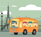Kids visiting Paris by tour bus. Zip contains AI, PDF and hi-res jpeg.