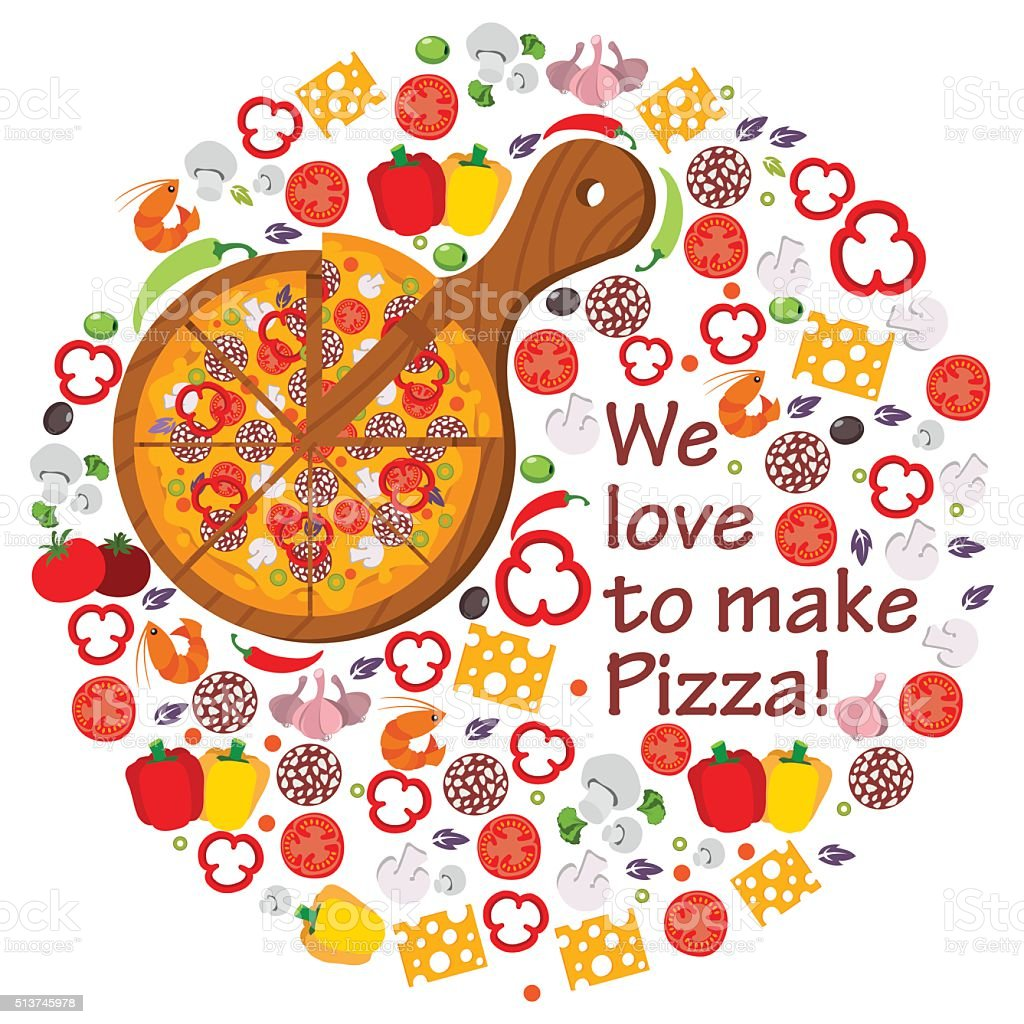 We love to make pizza vector art illustration