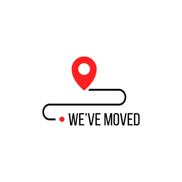 we moved minimal icon with pin. vector concept of interest land mark like ecommerce delivery or transfer. flat stroke trendy locator simple design illustration element. - przeprowadzka stock illustrations
