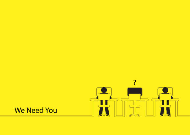 We Need You Line art illustration of two people working on the computers with one empty desk. Job vacancy, new recruitment, trainee, occupation, job search theme vacancy stock illustrations