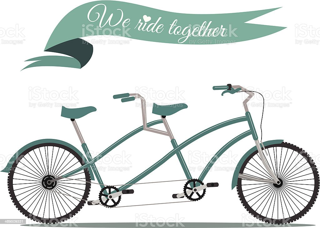We ride together. vintage tandem bicycle. royalty-free stock vector art