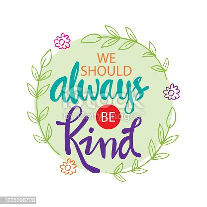 We should always be kind. Motivational quote.