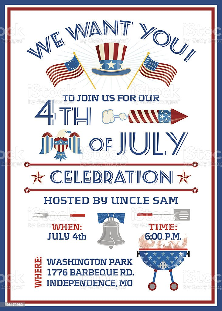 We Want You 4th of July Celebration vector art illustration