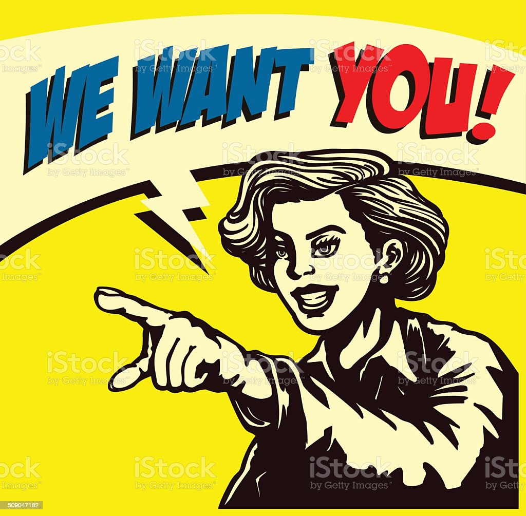We want you! Retro woman pointing finger vector illustration vector art illustration